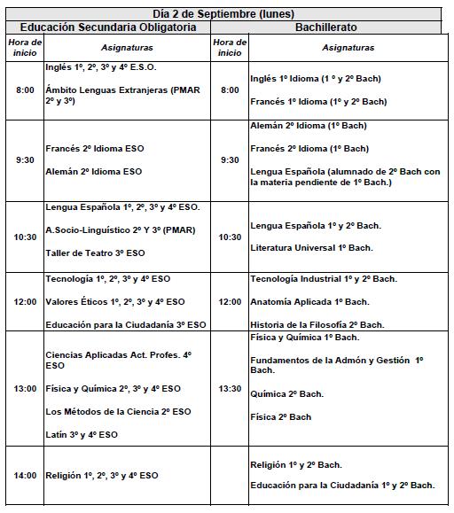Imagen de la noticia: Calendario de exámenes de Septiembre (curso 2018/2019) [Actualizado]