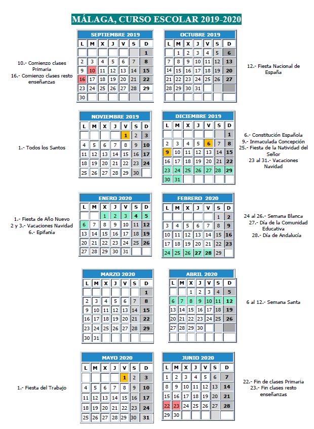 Imagen de la noticia: Calendario escolar del curso 2019/2020 [Actualizado]