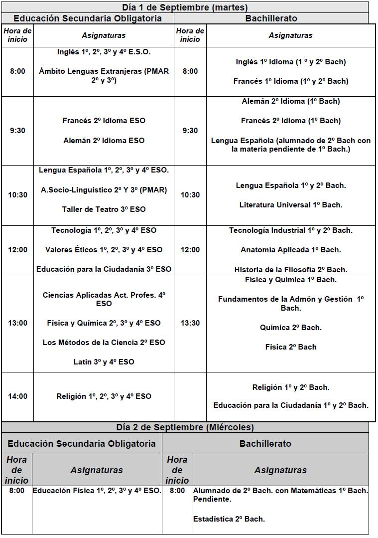 Imagen de la noticia: Calendario de exámenes de la prueba extraordinaria de septiembre 2020 [Actualizado]