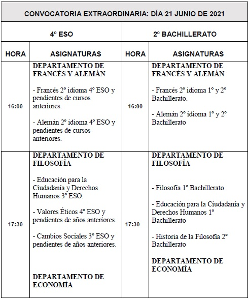 Imagen de la noticia: Calendario de exámenes de la convocatoria Extraordinaria de 4º de ESO y 2º de Bachillerato [Actualizado]